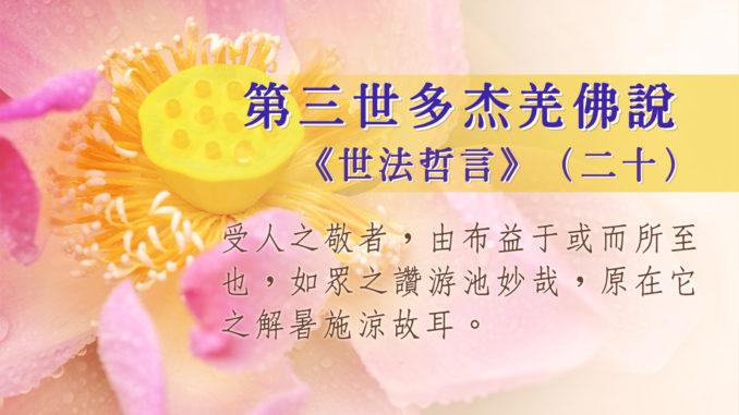 第三世多杰羌佛說《世法哲言》(二十)
