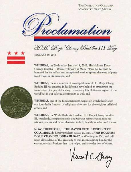 """美國首都華盛頓D.C.市葛瑞市長宣布2011年1月19日為""""第三世多杰羌佛日-2"""