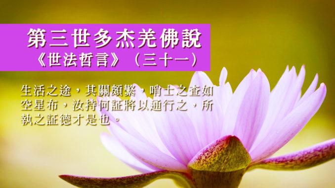 第三世多杰羌佛說《世法哲言》(三十一)