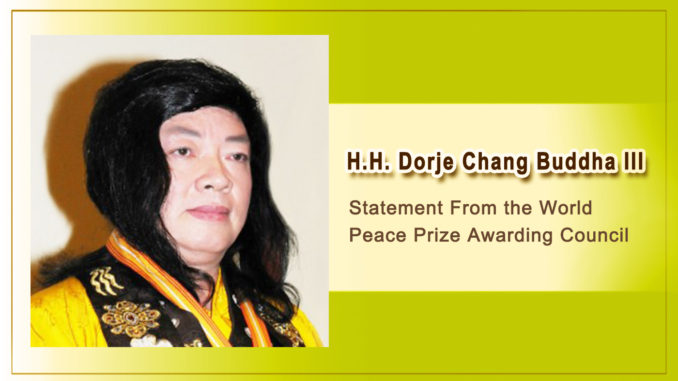 Statement From the World Peace Prize Awarding Council