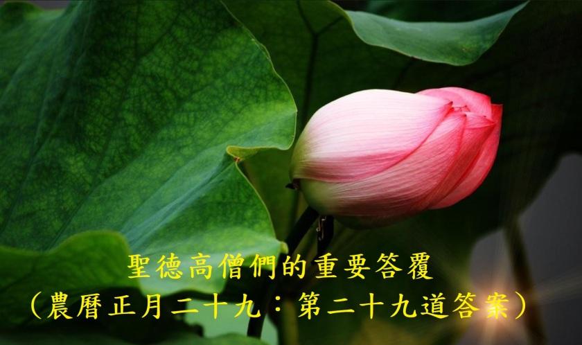 (農曆正月二十九:第二十九道答案)